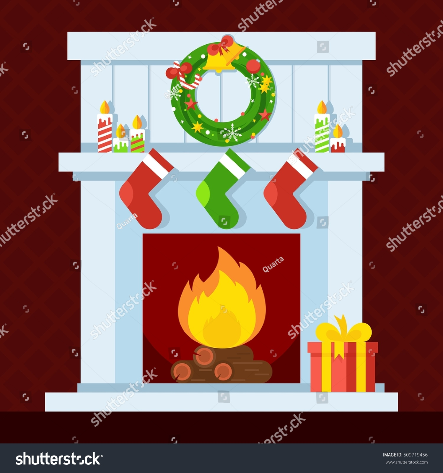 christmas fireplace xmas fire home decoration stock vector