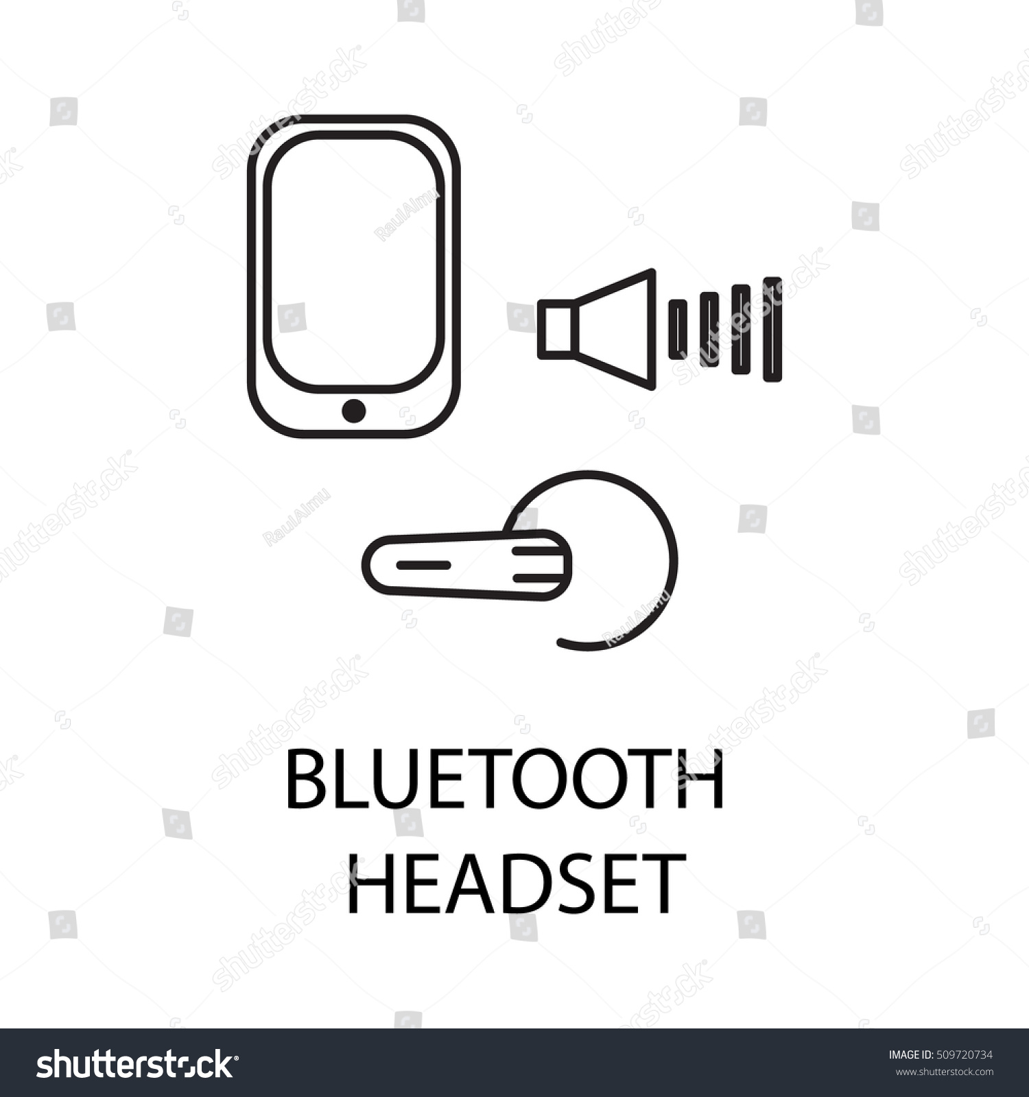 Bluetooth Headset Line Icon Vector Symbol Stock Royalty Free Circuit Diagram On The Topic Of Personal Devices Black Minimalist