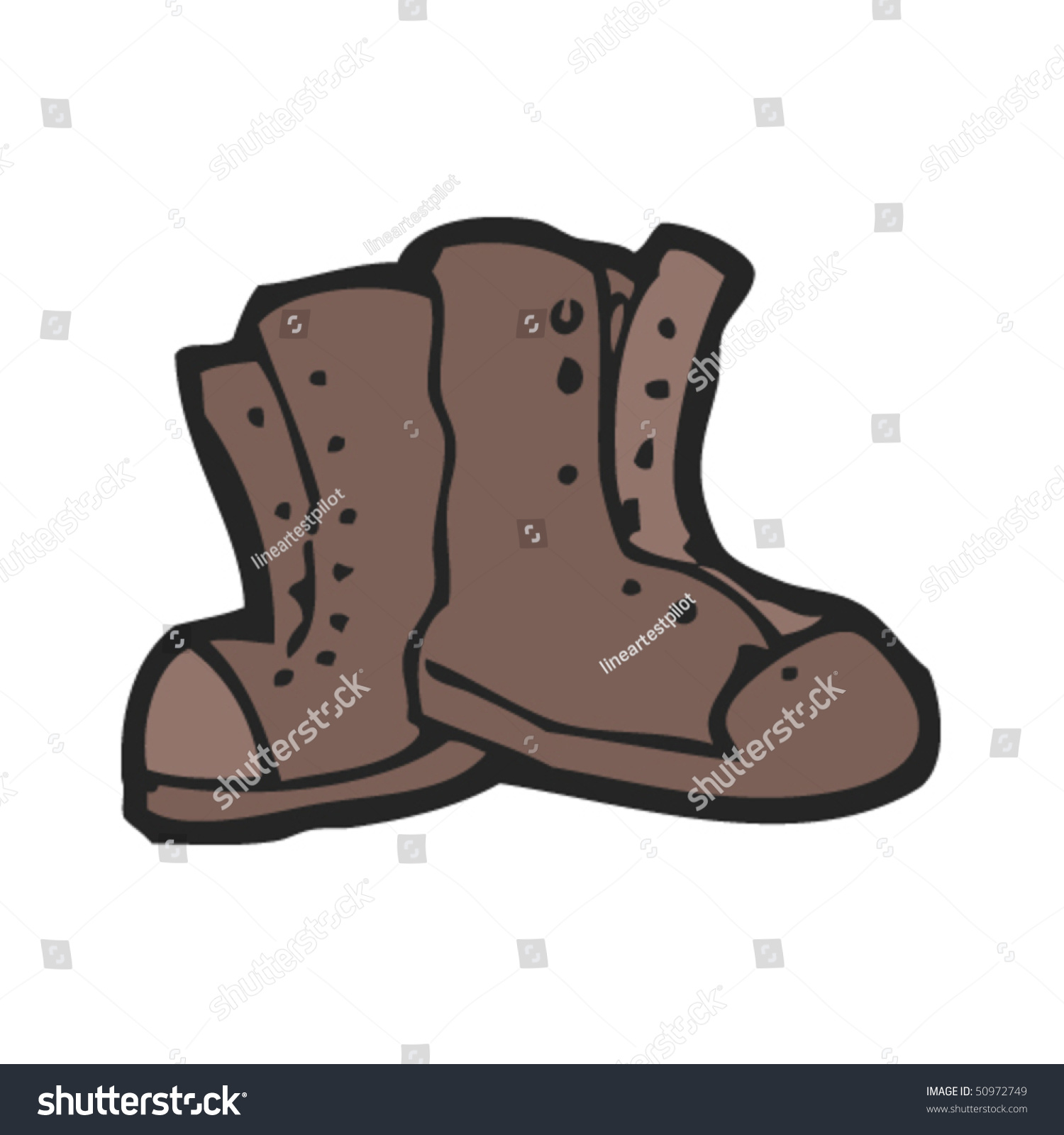 Quirky Drawing Old Boots Stock Vector 50972749 - Shutterstock