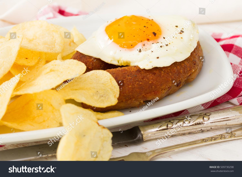 Fried Portuguese Sausage Alheira Egg Potato Stock Photo Edit Now 509730298