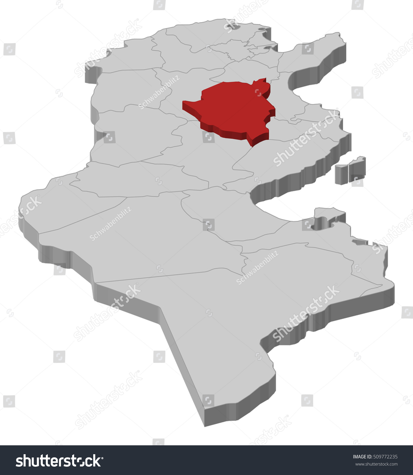 Map Tunisia Kairouan 3dillustration Stock Vector 509772235
