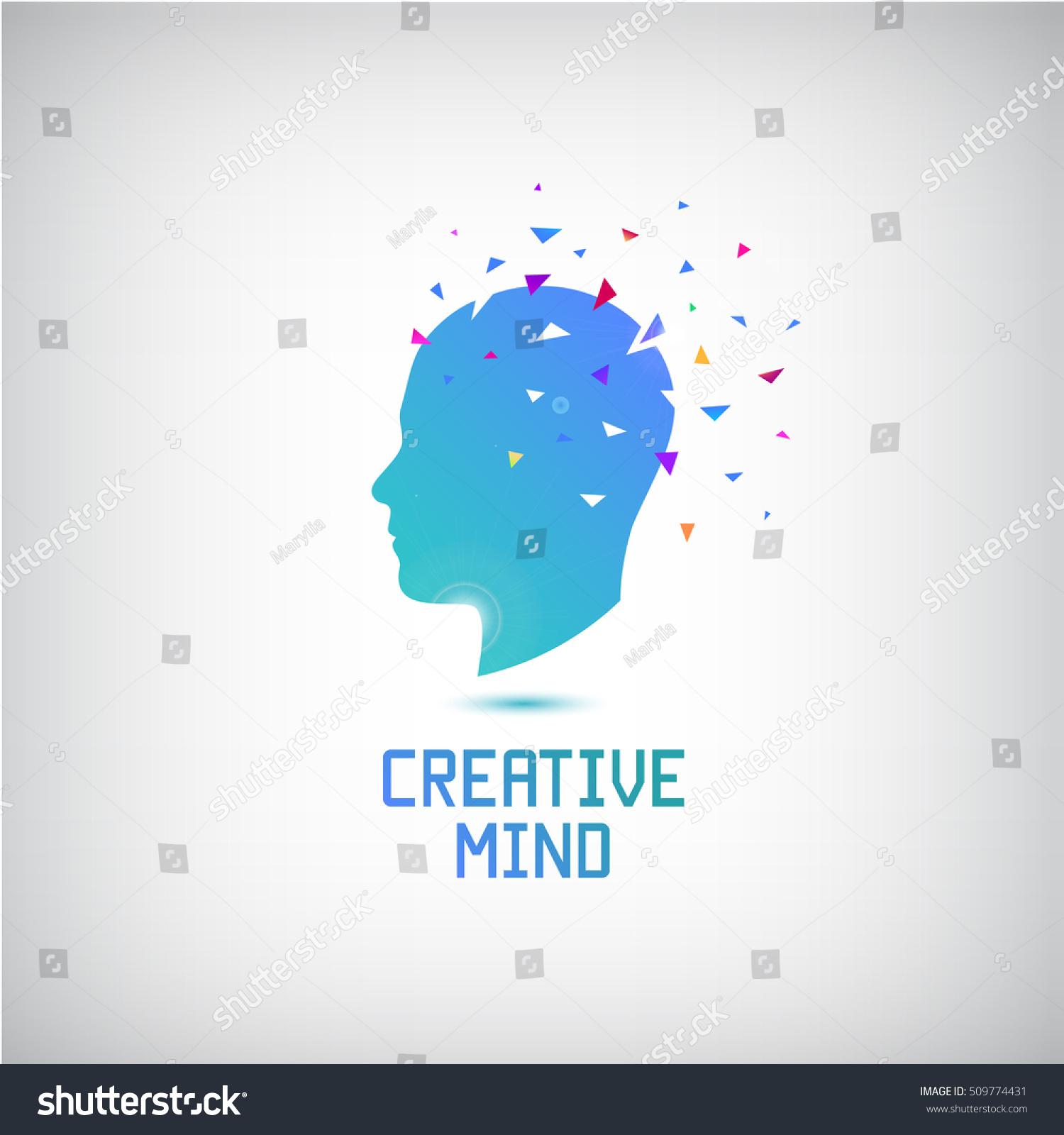 Vector Creative Mind Logo Head Silhouette Stock Vector