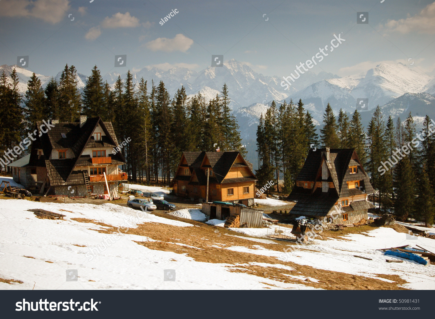 Traditional polish wooden homes built in zakopane region with tatra mountains panorama in - Traditional polish houses wood mastership ...