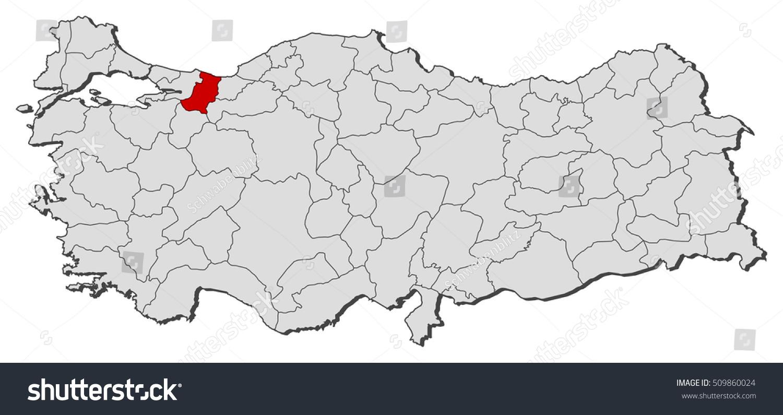 Map Turkey Sakarya Stock Vector 509860024 Shutterstock
