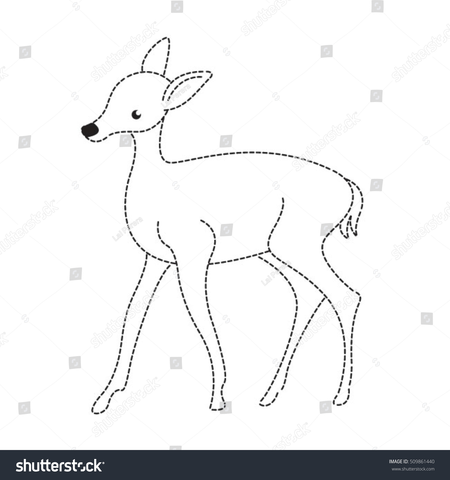 Deer Animal Dotted Linesvector Drawing Stock Vector (Royalty Free ...