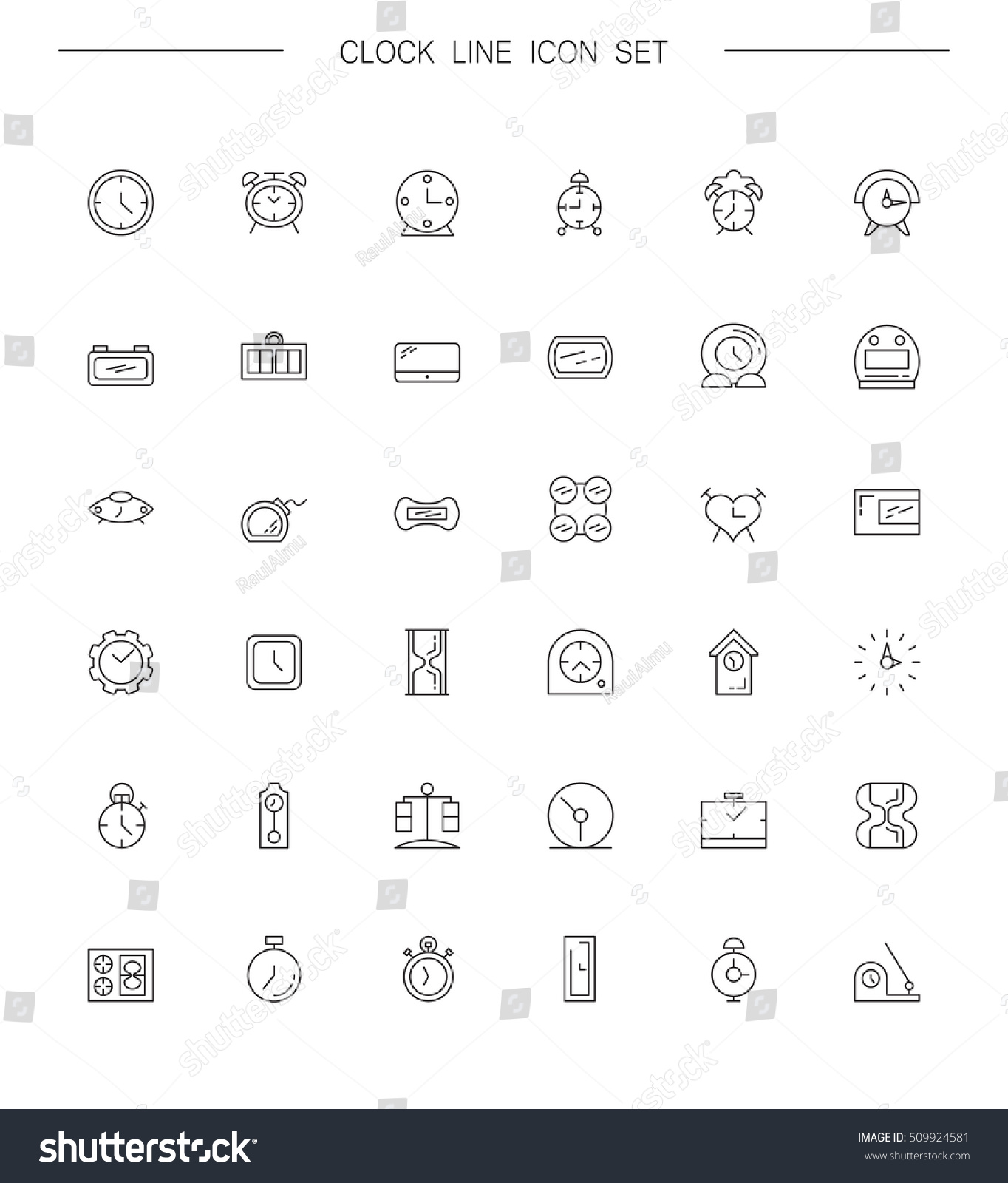 Clock line icon wt vector high stock vector 509924581 shutterstock vector high quality outline pictograms of clock signs of element buycottarizona Image collections