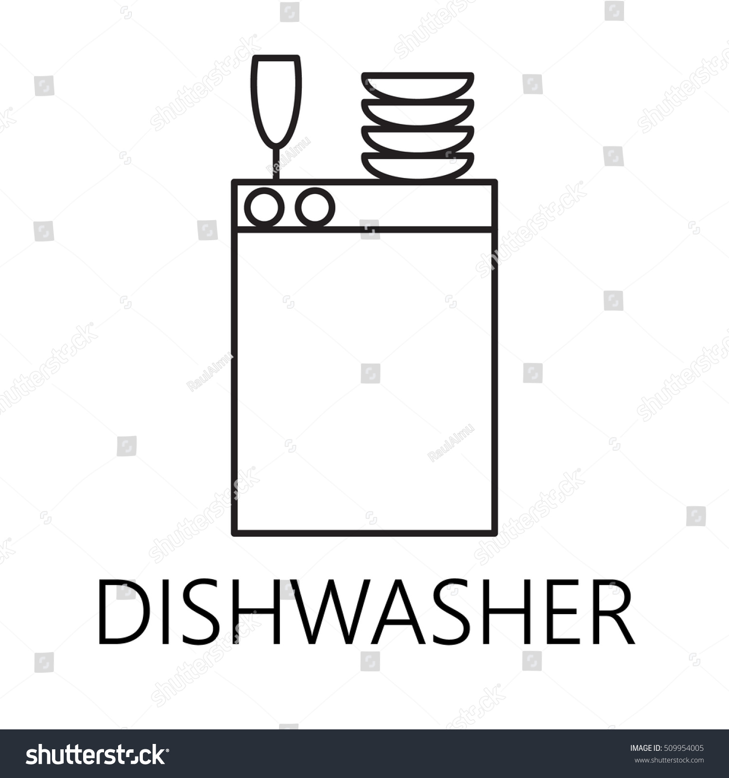 Dishwasher Line Icon Vector Symbol On Stock Vector Royalty Free