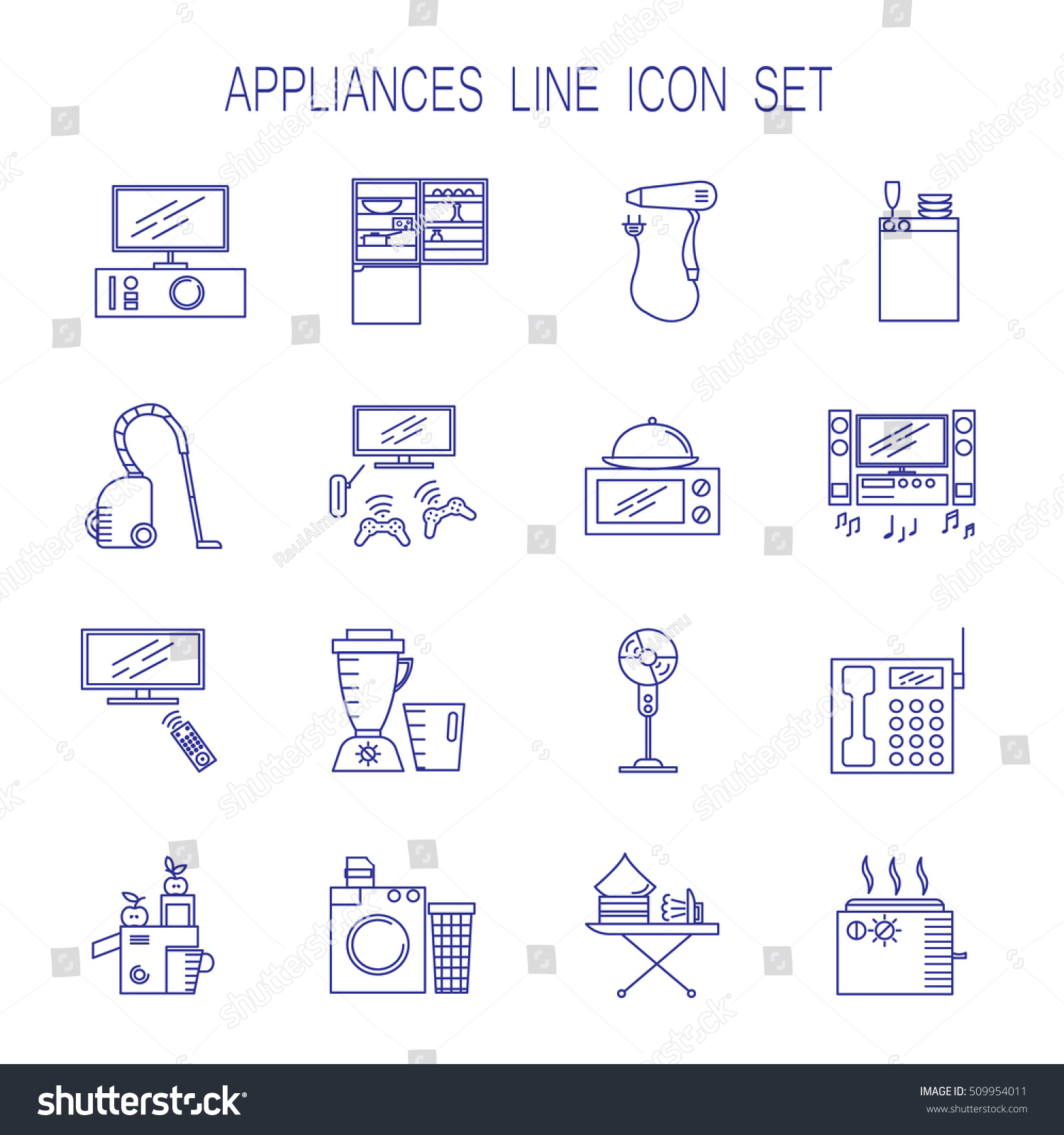 Appliances Line Icon Set Collection Vector Stock Vector Royalty