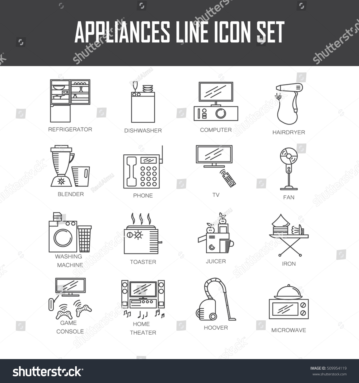 Appliances line icon set collection vector stock vector 509954119 collection of vector symbols on the topic of home electronic devices buycottarizona Image collections