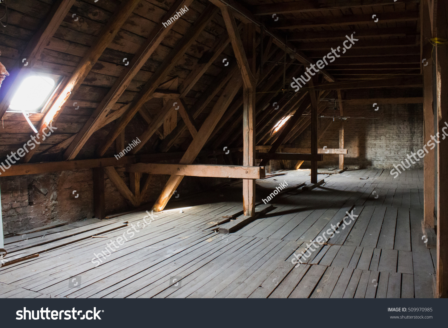 Attic Wooden Beams Old Loft Roof Stock Photo 509970985