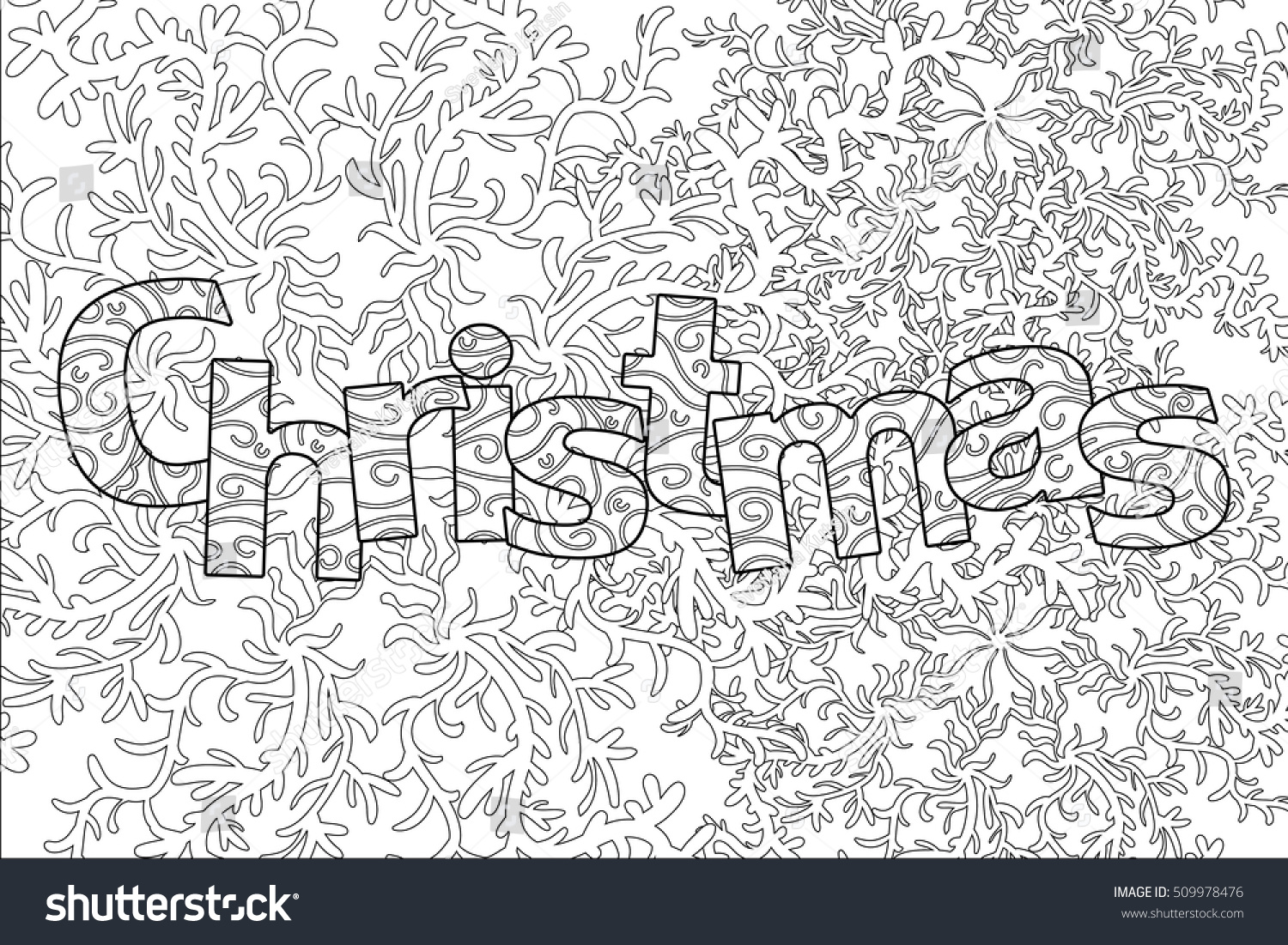 Christmas Pattern Adult Coloring Book Greeting Stock Vector (Royalty ...