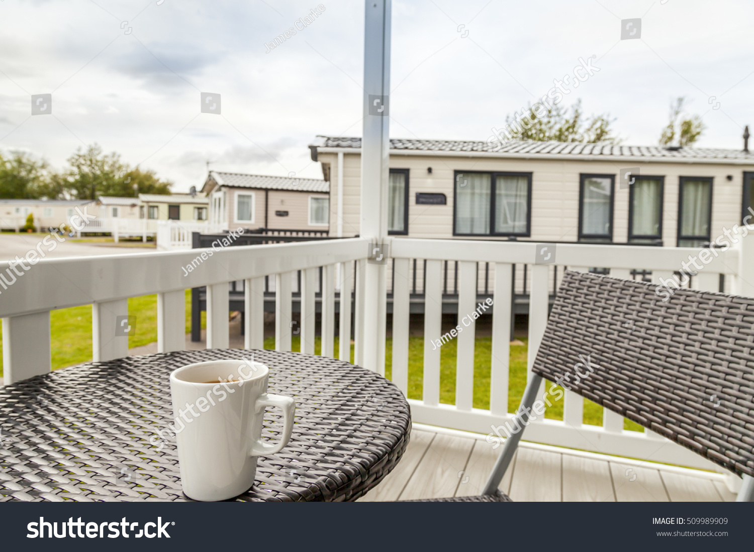 view veranda on static caravan bistro stock photo 509989909 shutterstock. Black Bedroom Furniture Sets. Home Design Ideas