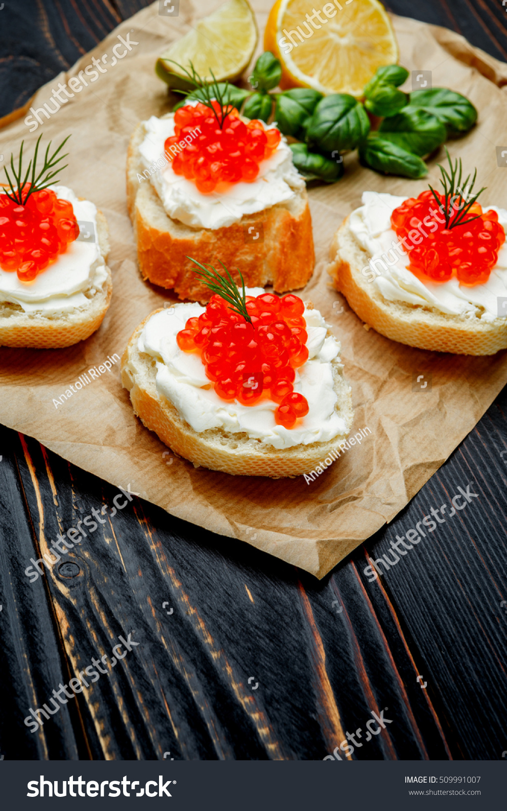 Canapes red caviar stock photo 509991007 shutterstock for Canape with caviar