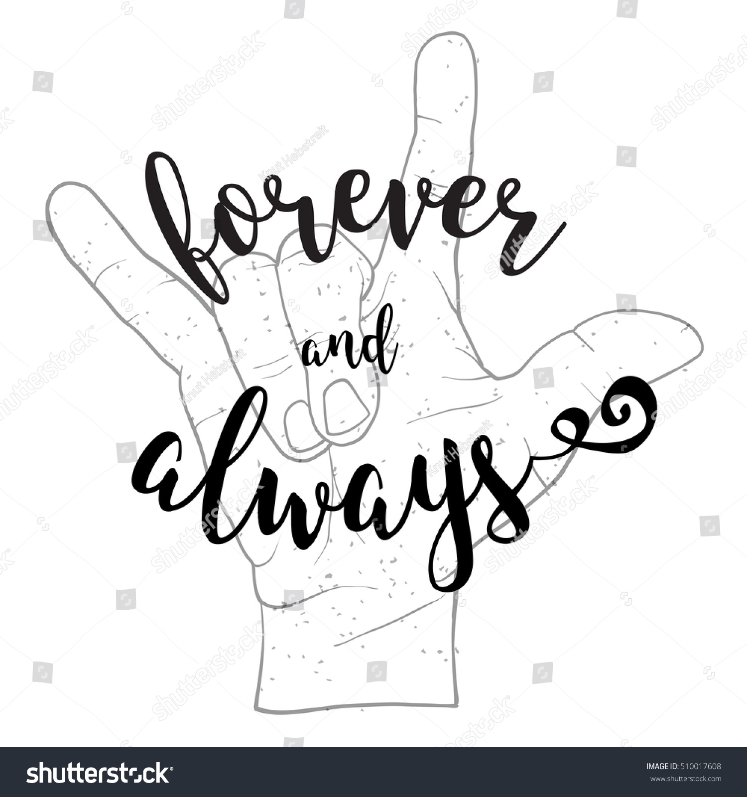 Forever always quote devil hand symbol stock vector 510017608 forever and always quote with devil hand symbol hand written typeface sketched vector artwork biocorpaavc Gallery
