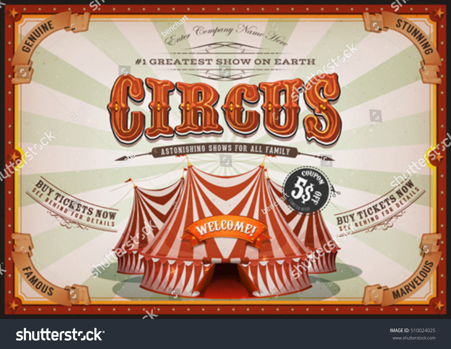 Vintage Circus Poster Big Top Illustration Stock-Vektorgrafik ...