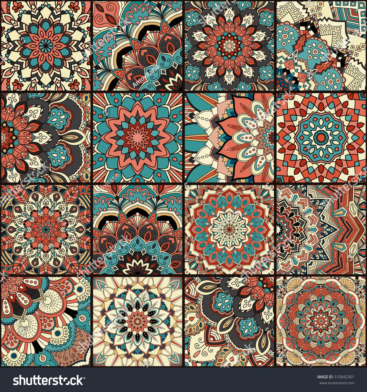 Boho Tile Set Seamless Pattern Blue Stock Vektorgrafik Lizenzfrei