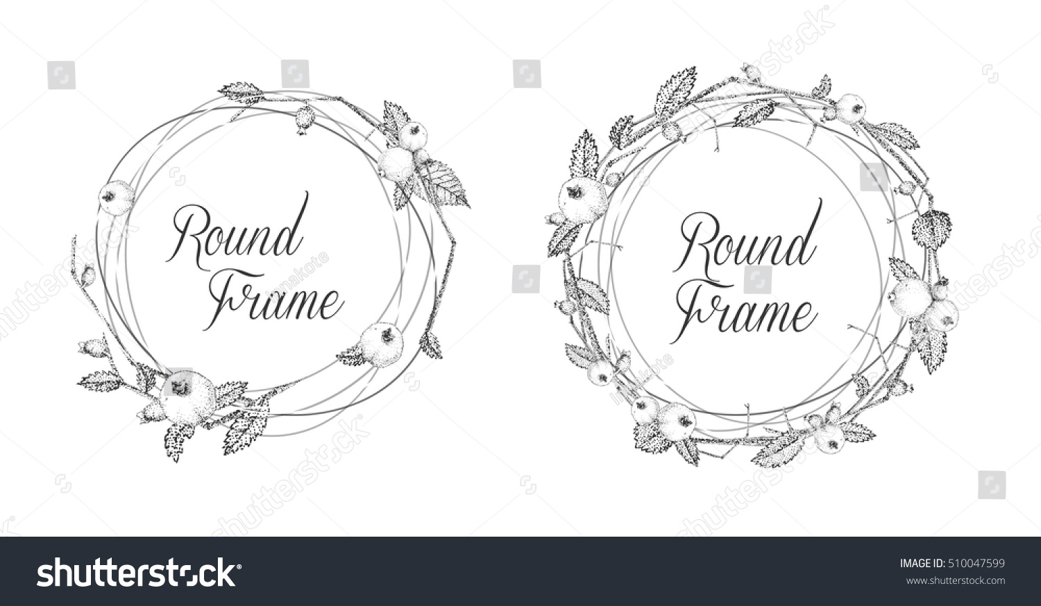 Floral Frames For Greeting Cards Or Invitations Black And White