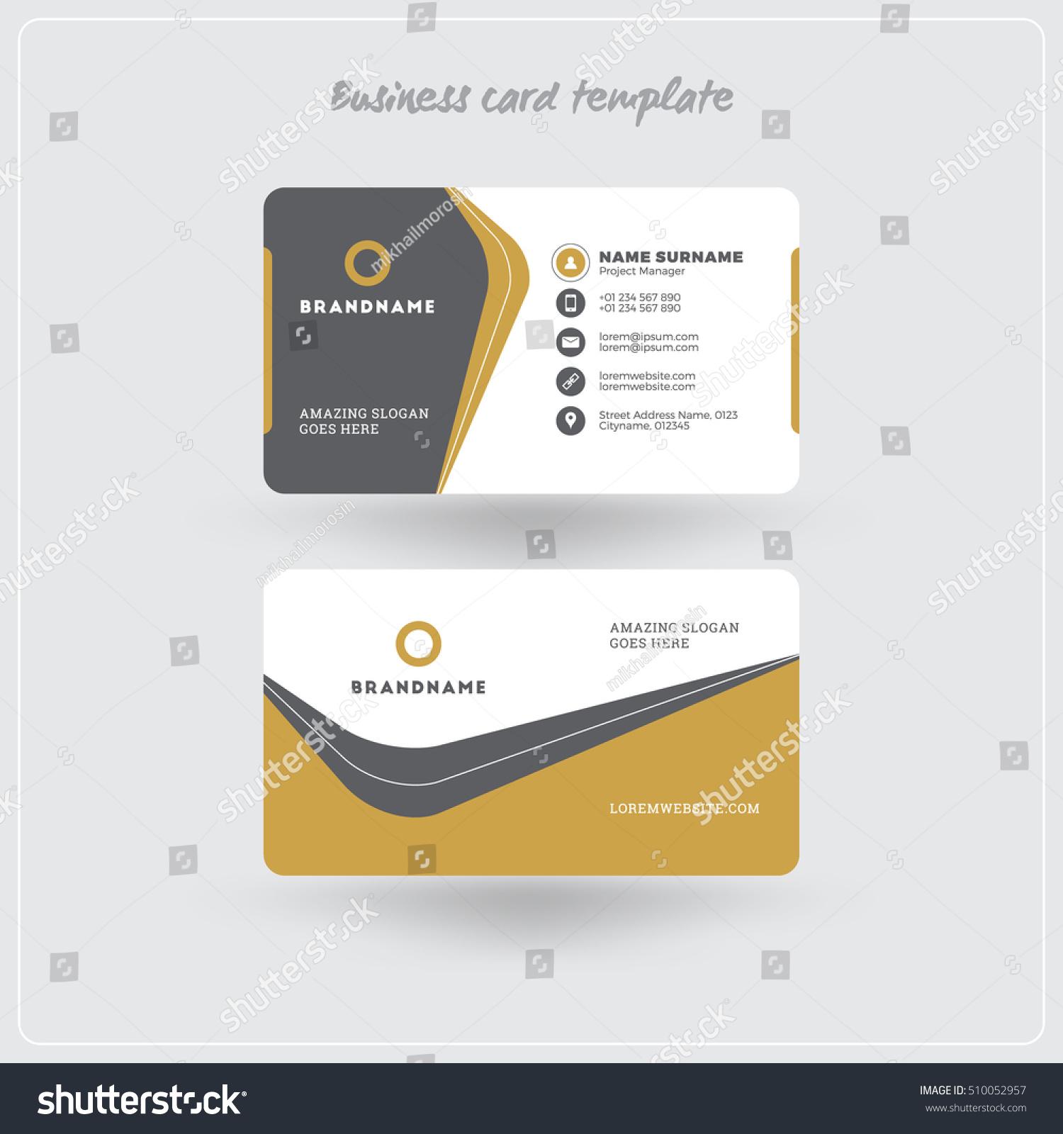 Golden Gray Business Card Print Template Stock Vector - Business card printable template