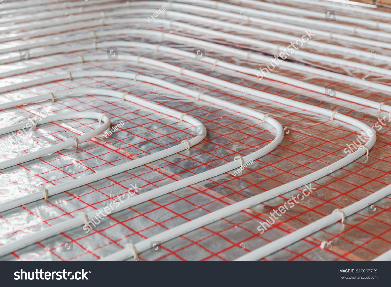 Riscaldamento A Pavimento Tubi installazione di riscaldamento a pavimento. chiudere : foto