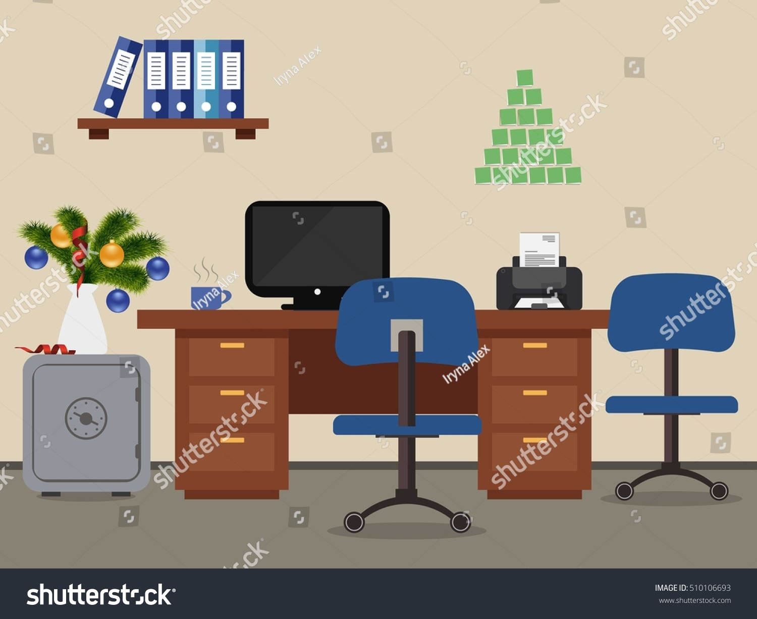Office Room Decorated Christmas Decoration There Stock