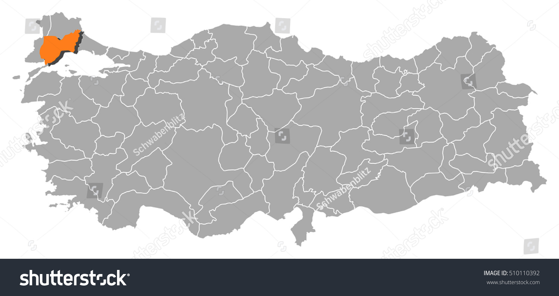 Map Turkey Tekirdag Stock Vector 510110392 Shutterstock