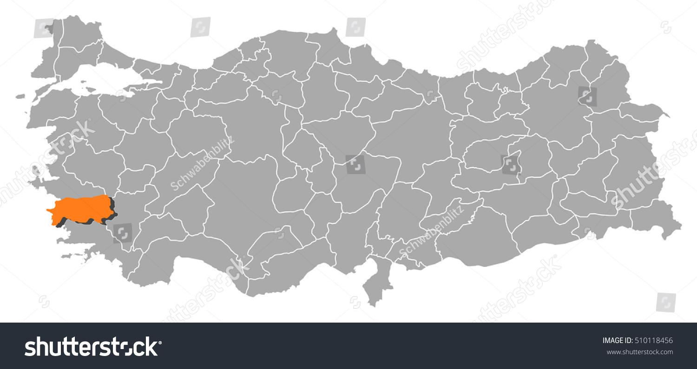Map Turkey Aydin Stock Vector HD Royalty Free 510118456 Shutterstock