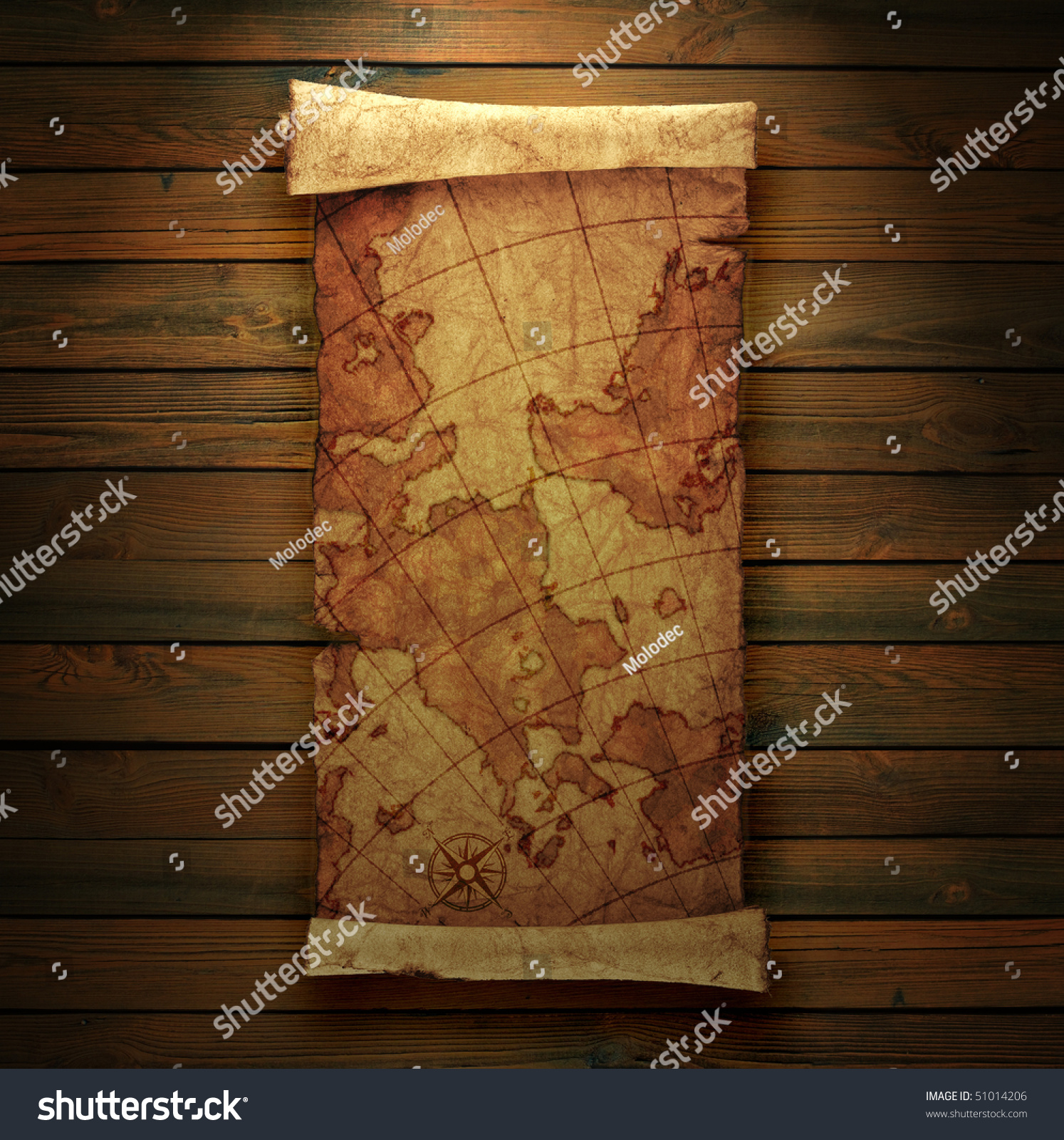 Ancient Scroll: Ancient Scroll Map, On A Wooden Background Stock Photo
