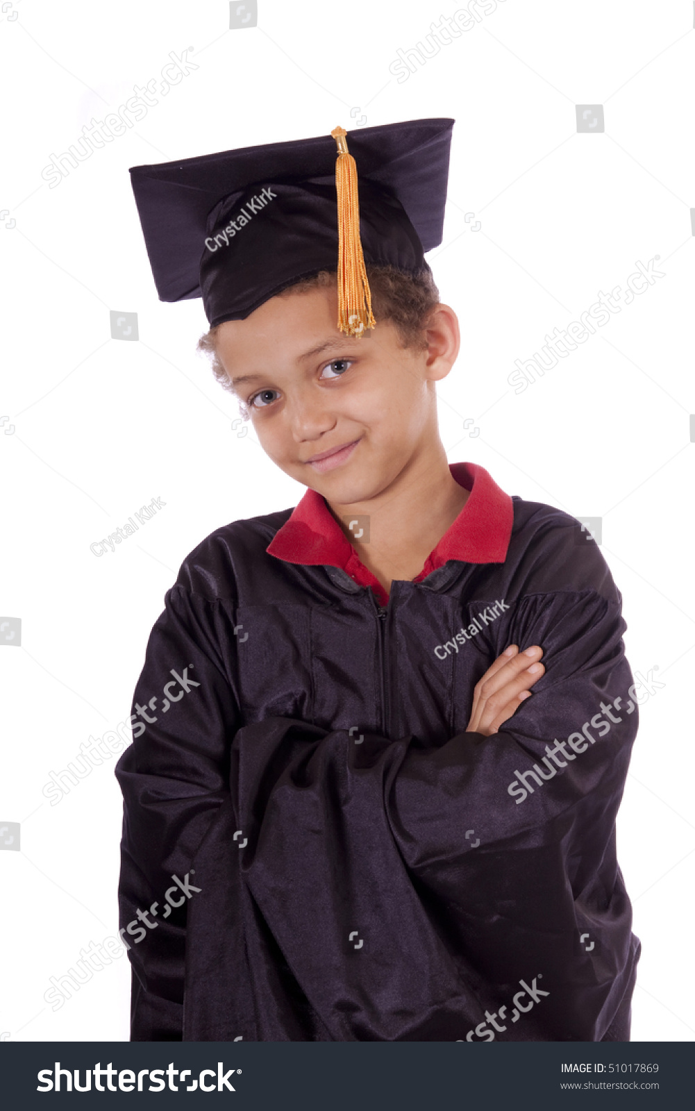 Young Boy Graduation Gown Cap Stock Photo (Royalty Free) 51017869 ...