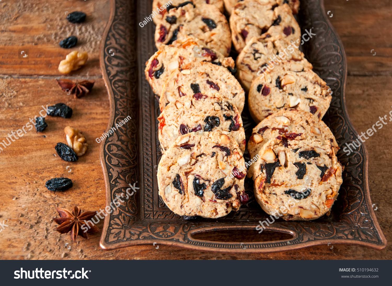Christmas Cake Cookies On Vintage Plateon Stock Photo Edit Now