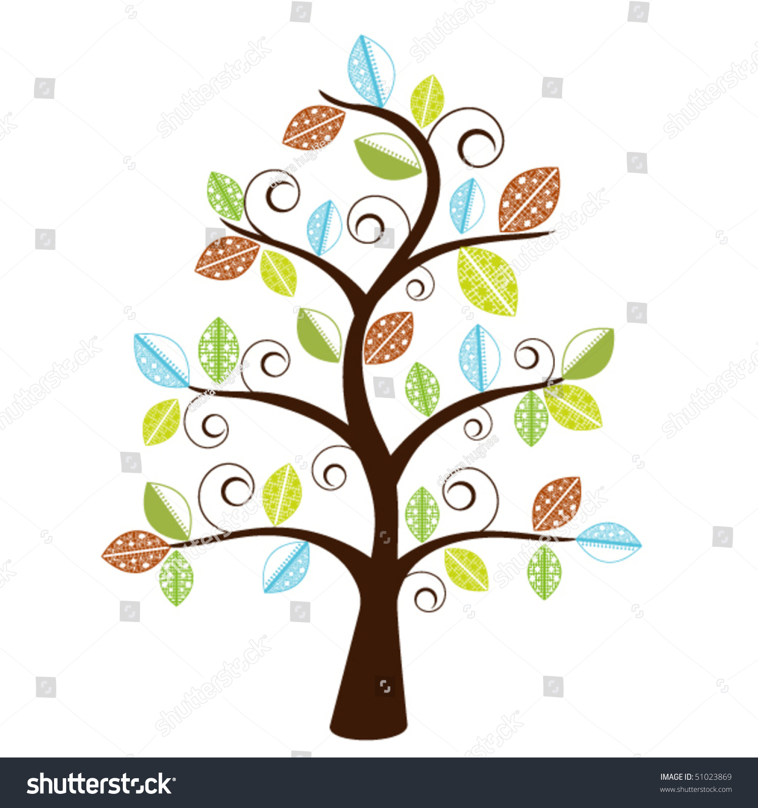 Decorative Whimsical Tree - Funky Leaves Stock Vector ...