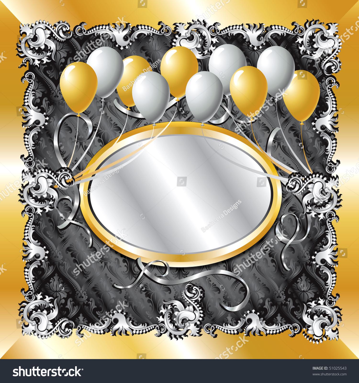 Vector Illustration Gold Silver Balloon Template Stock