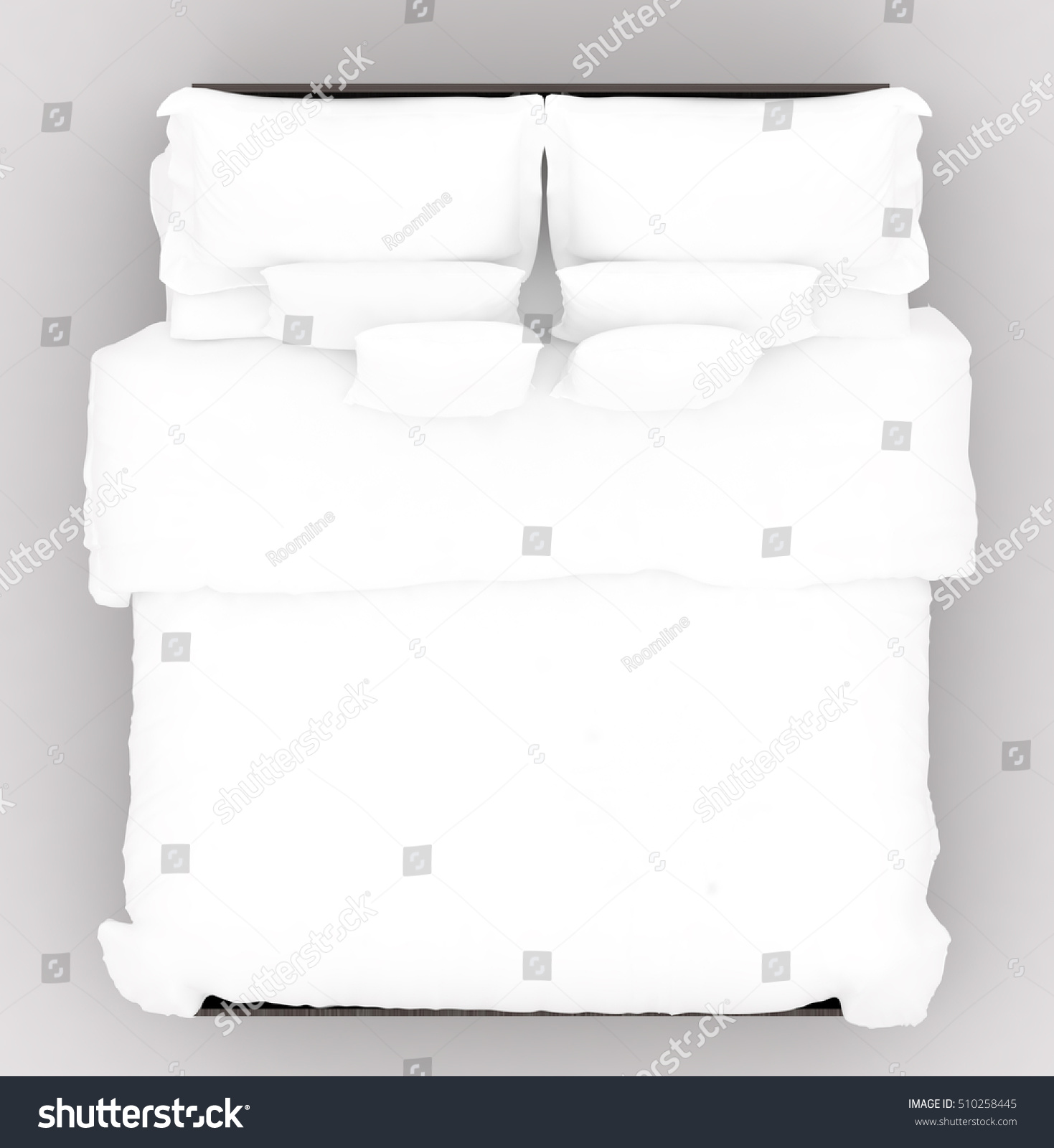Bed Soft Mattress Top View 3d Stock Illustration