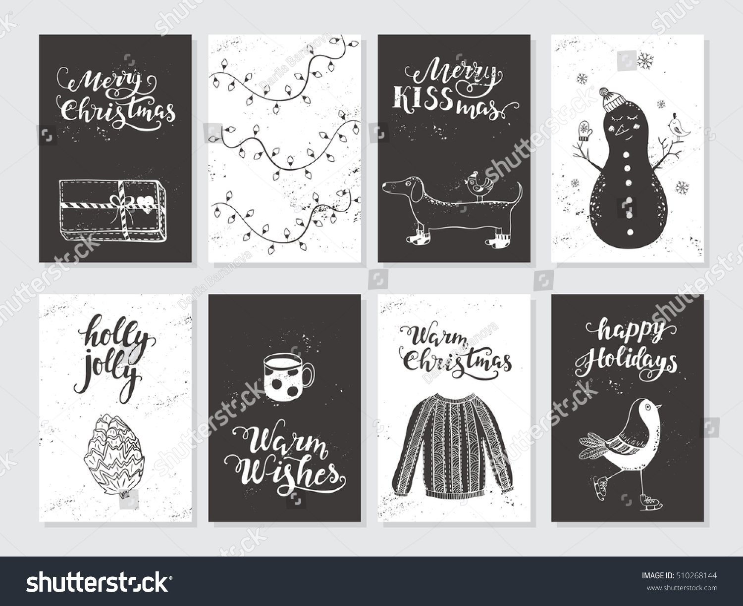 Vector merry christmas black white greeting stock vector royalty vector merry christmas black and white greeting cards and invitations isolated on background set with m4hsunfo