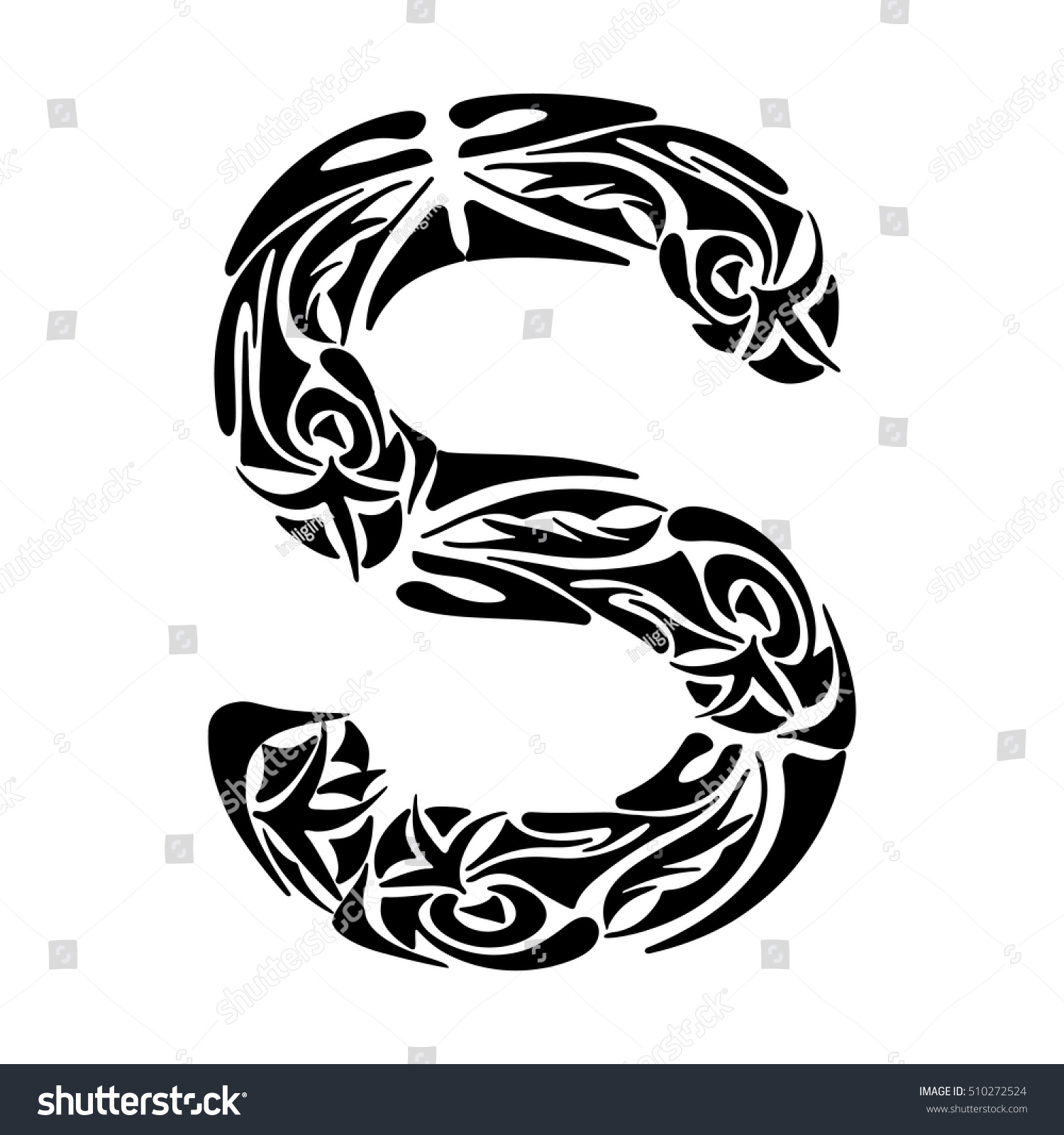 Polynesian tattoo initials tribal capital letter stock vector polynesian tattoo initials tribal capital letter s vector illustration for coloring page tattoos thecheapjerseys Choice Image