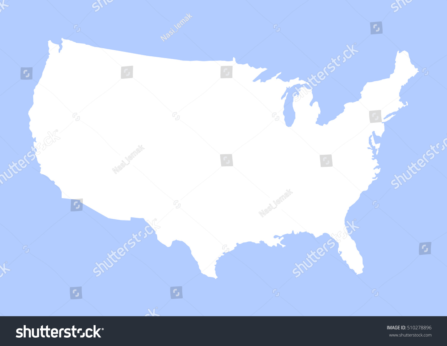 America Country Map Outline Graphic Vector Stock Vector - Usa country map outline