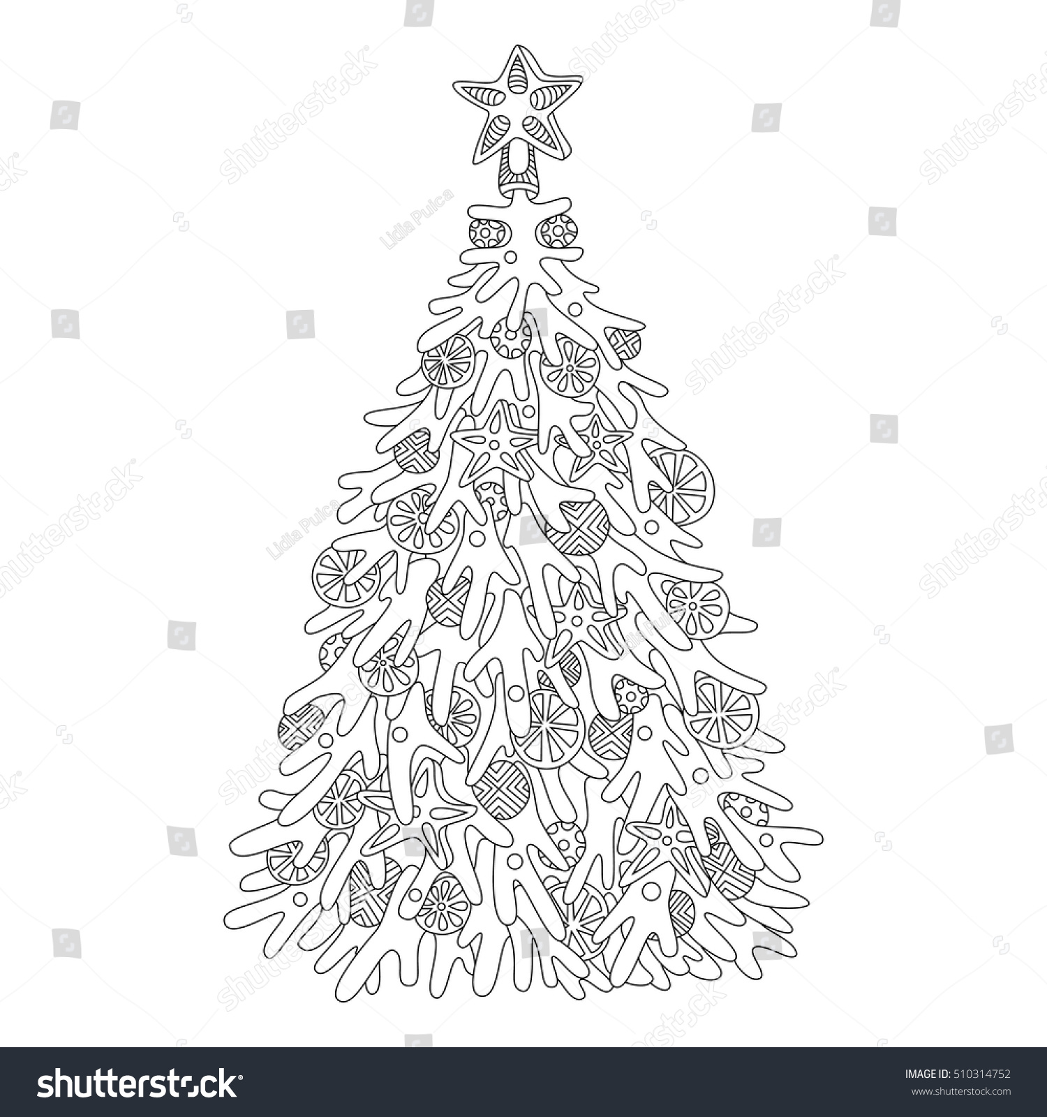 Christmas Tree Adult Coloring Page Adults Stock Vector