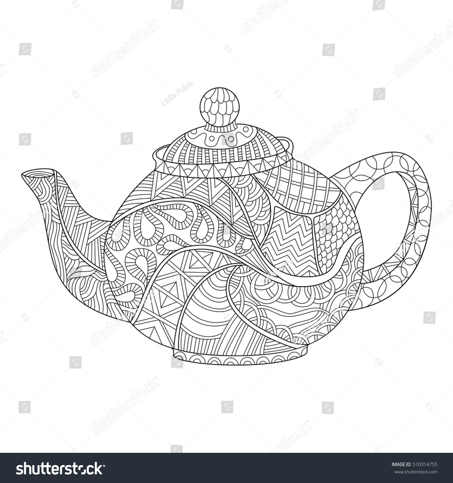 Teapot Coloring Page Adults Zentangle Style Stock Vector 510314755
