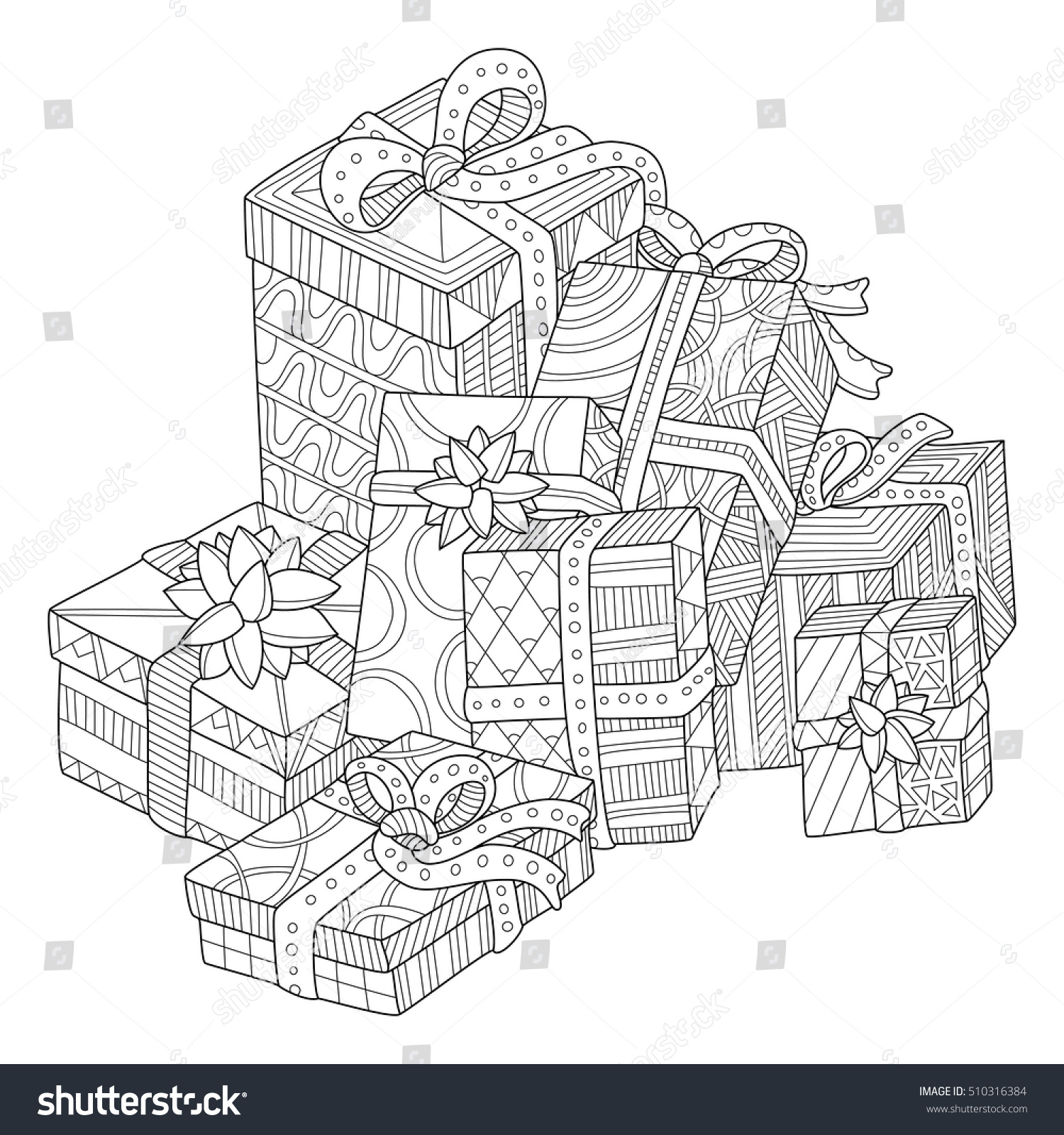 Gift Boxes Coloring Page Adults Zentangle Stock Vector 510316384 ...