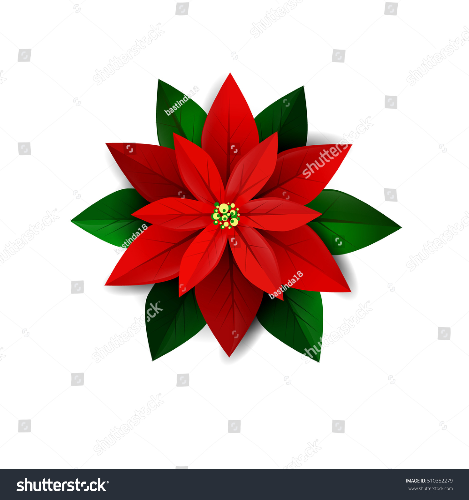 poinsettia flower symbol christmas stock vector 510352279