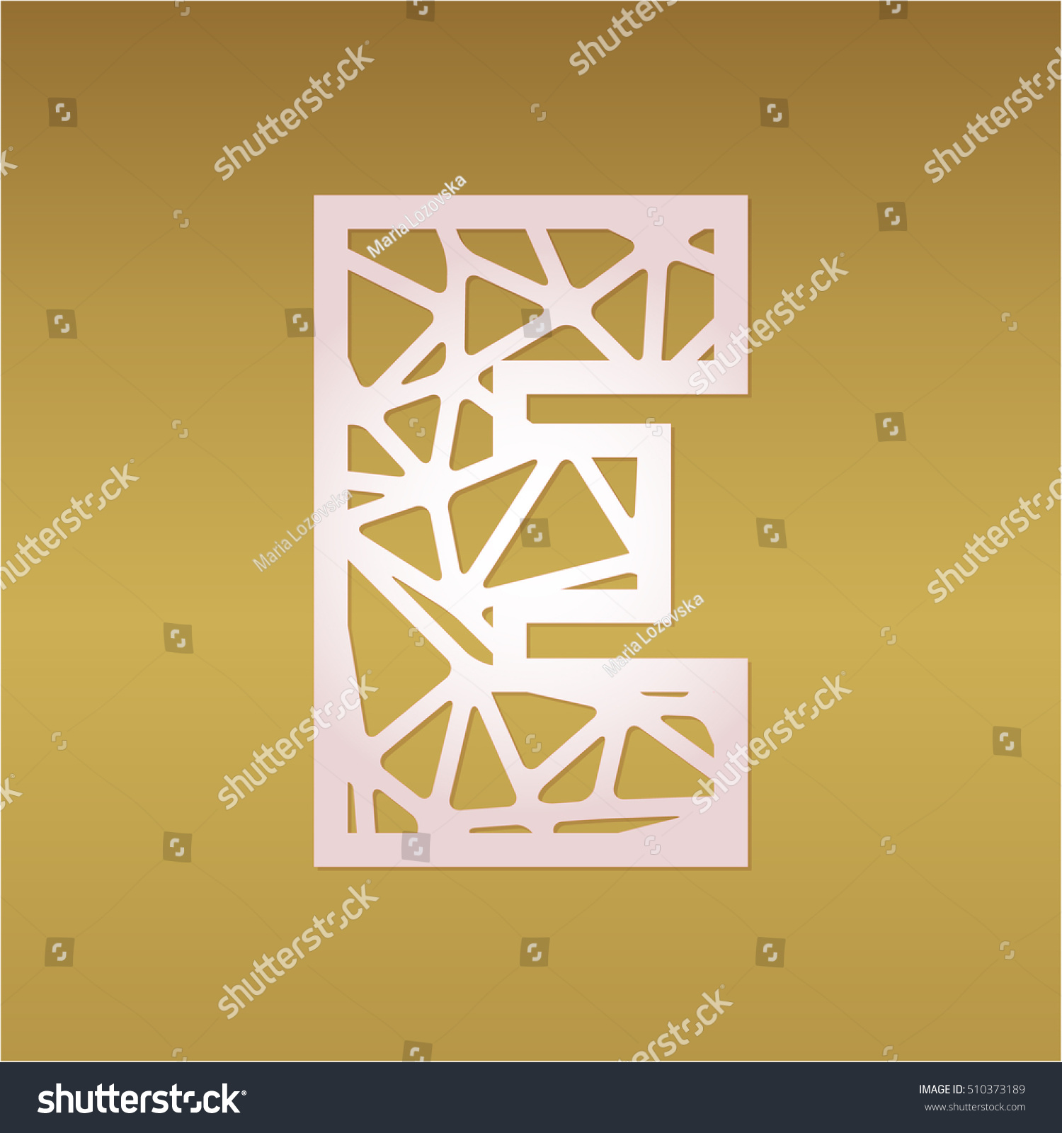 mosaic monogram letter e laser cut stock vector royalty free