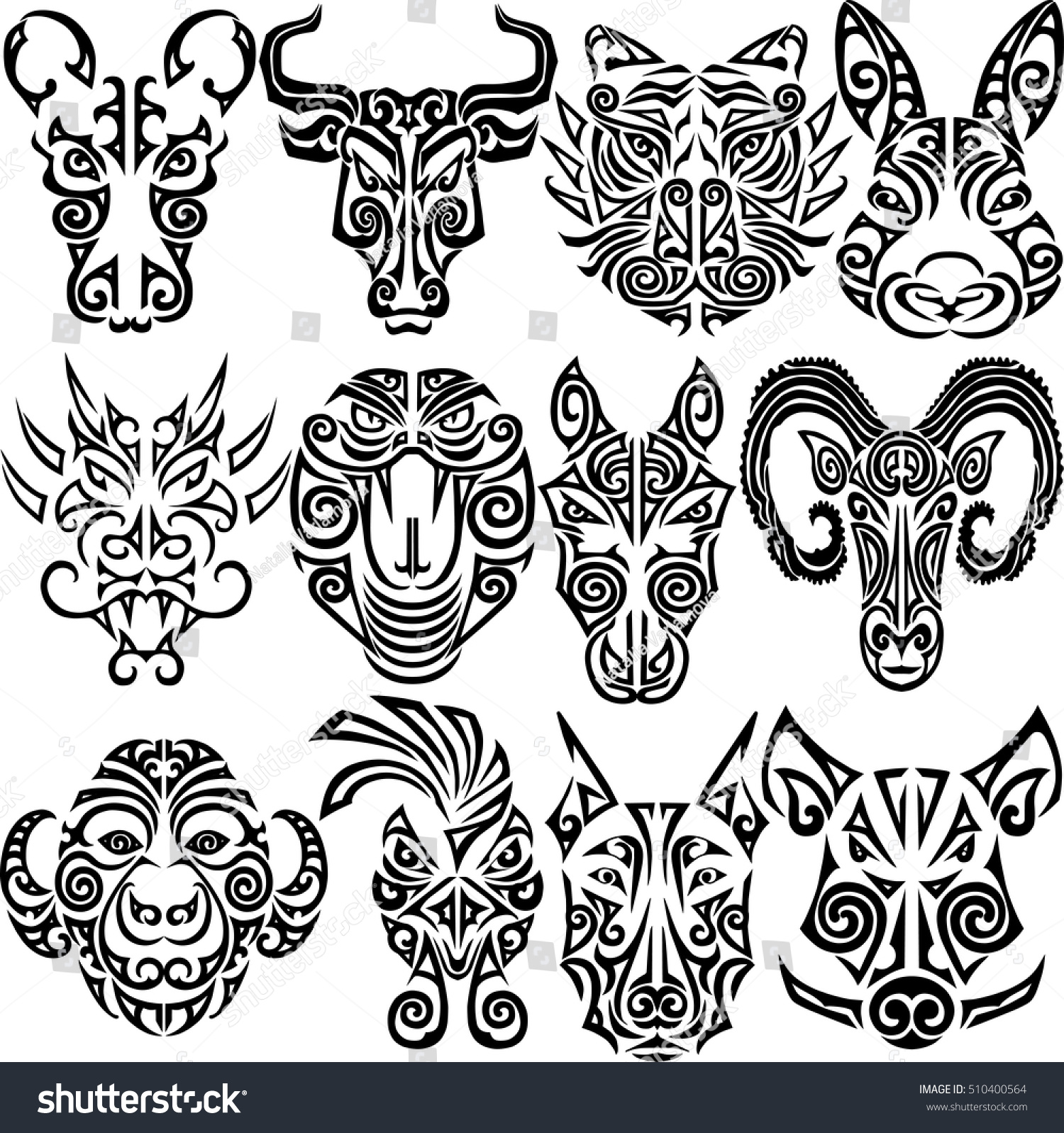 chinese zodiac signs set rat ox stock vector 510400564 shutterstock. Black Bedroom Furniture Sets. Home Design Ideas