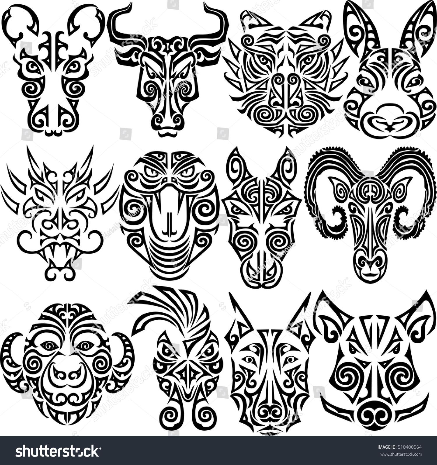 Chinese zodiac signs set rat ox stock vector 510400564 shutterstock chinese zodiac signs set rat ox bull tiger rabbit dragon biocorpaavc Gallery