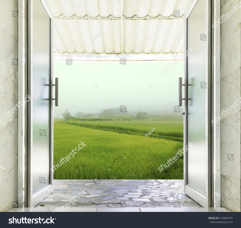 Closeup Aluminum Glass Door Open Outdoor Stock Photo Edit Now