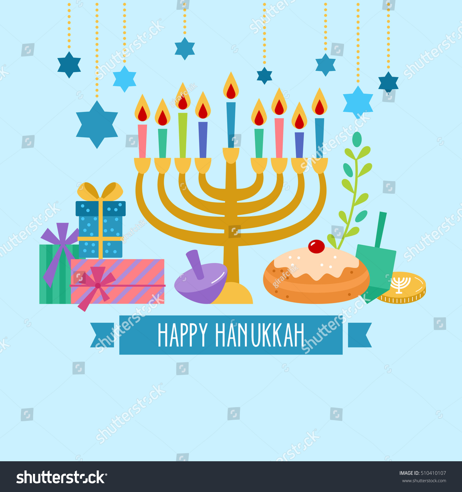 Hanukkah Jewish Holiday Banner Design Stock Vector ...