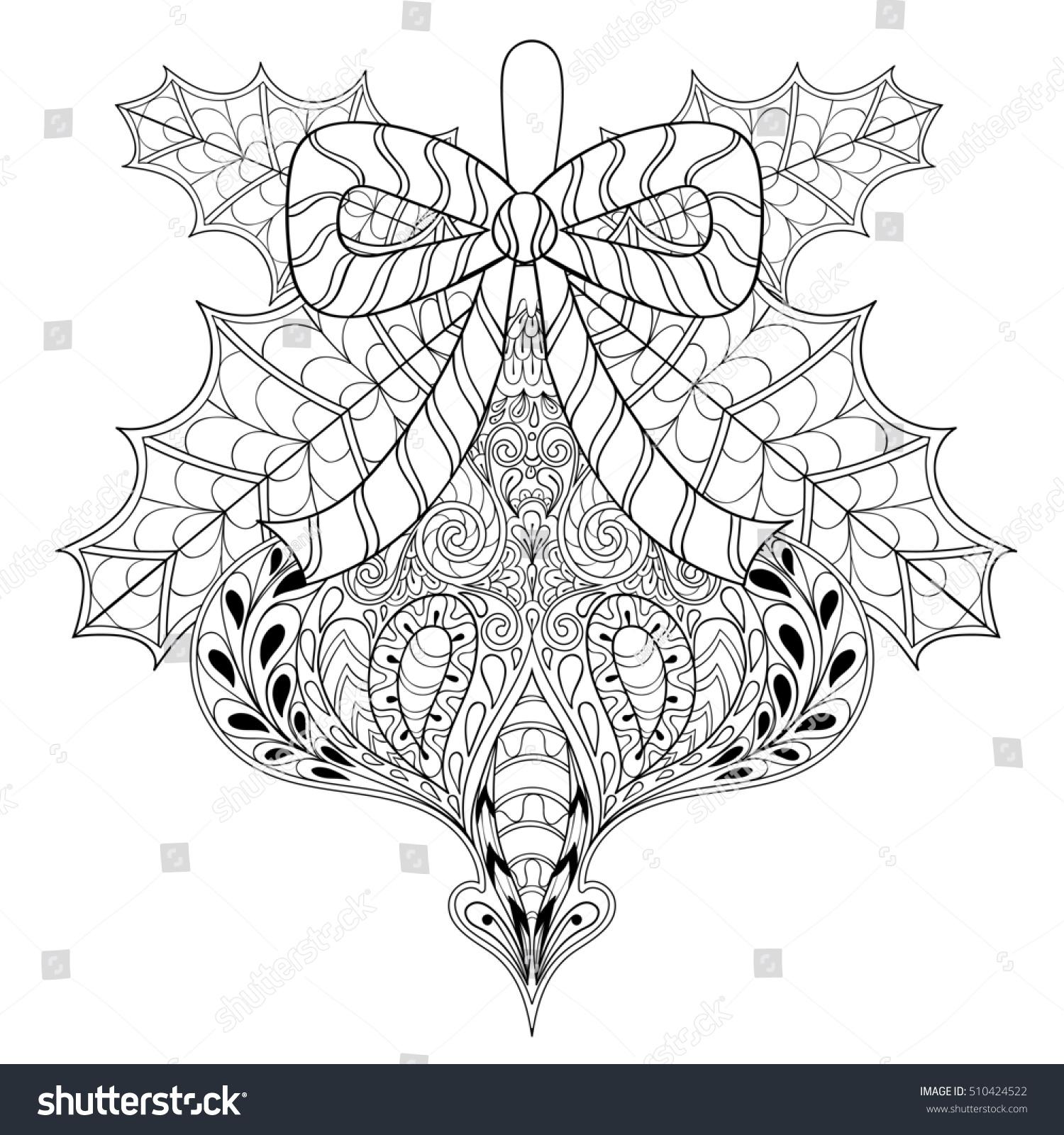Christmas Tree Toy Mistletoe Leaves Zentangle Stock Illustration ...