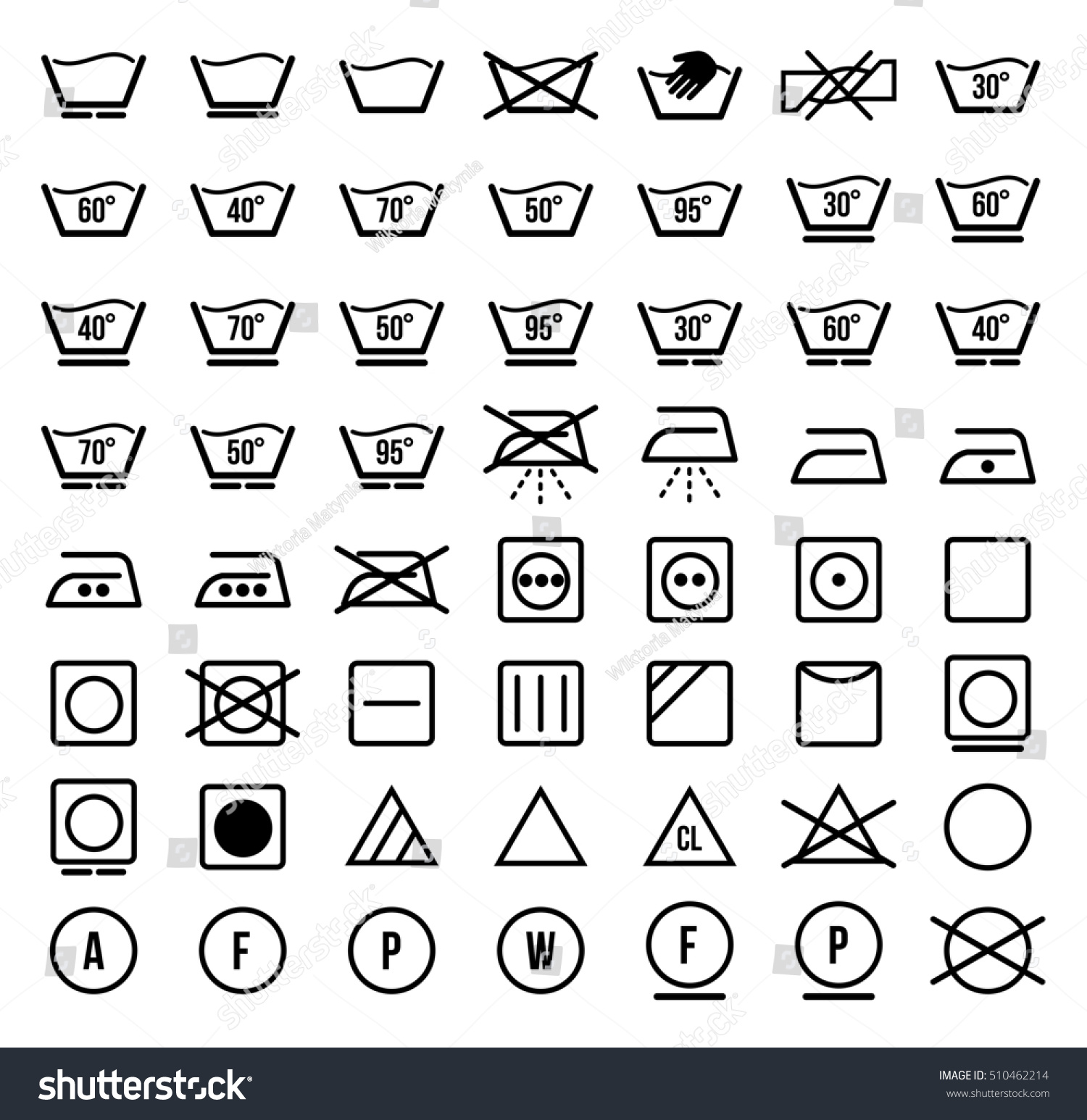 Laundry Symbols Icons Set Stock Illustration 510462214 Shutterstock