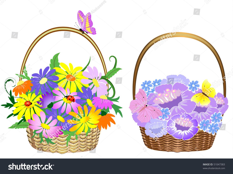 Flower Baskets Vector : Flower baskets stock vector illustration