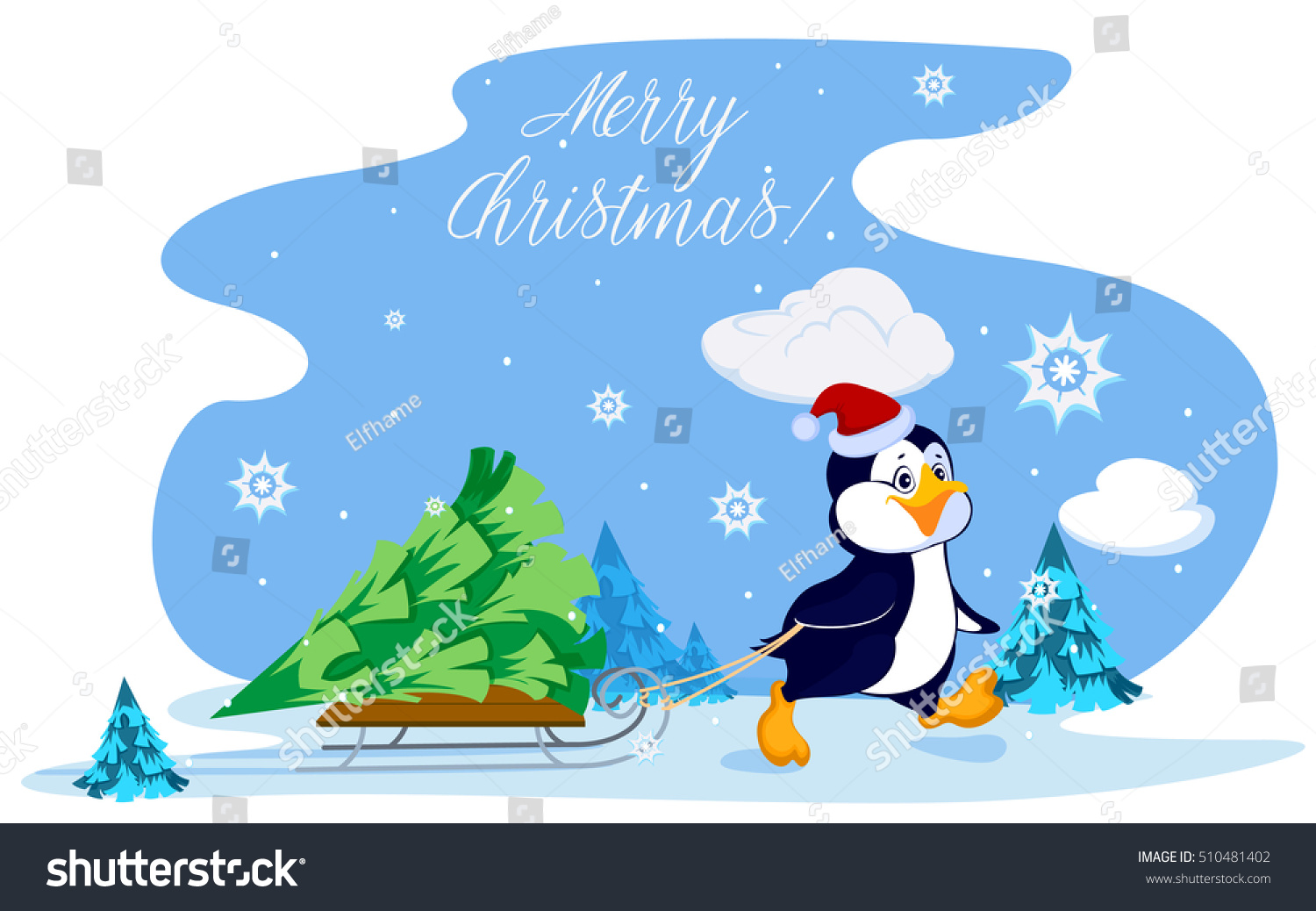 penguin carries christmas tree on sled stock vector 510481402