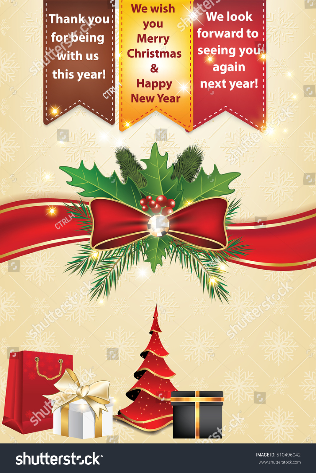 Thank You Business Christmas New Year Stock Illustration 510496042