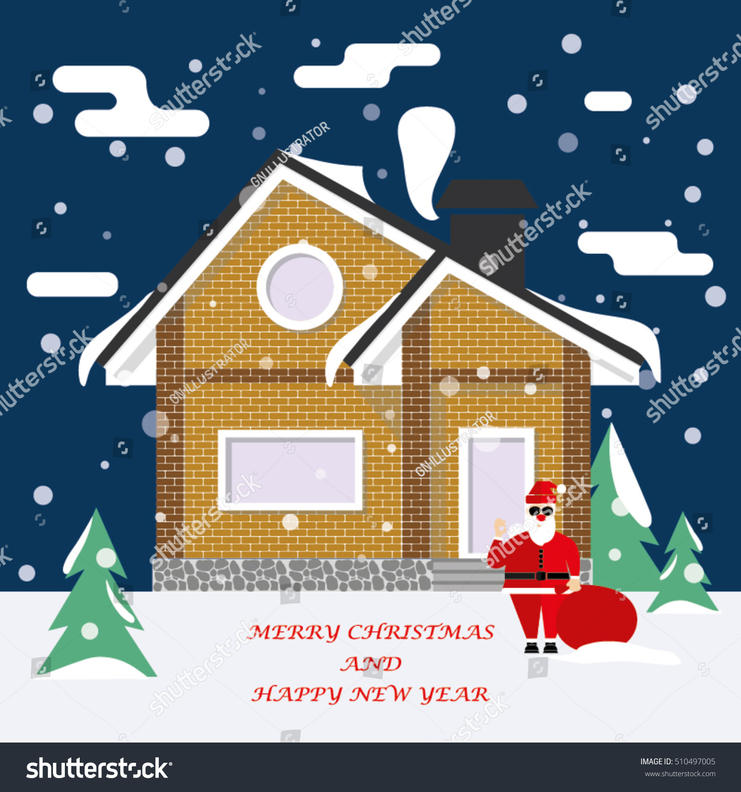 Detached house winter against sky snow stock vector 510497005 detached house in the winter against the sky and snow congratulations greeting card merry kristyandbryce Gallery